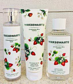 3 BBW Strawberry Shower Gel Body Wash + Body Cream + Fragran