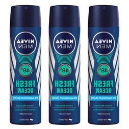 6 x Nivea MEN FRESH OCEAN Body Spray Deodorant Aluminium Fre