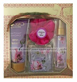 CALGON*4pc Body Care Set TAHITIAN ORCHID Bath Salts+Spray+Wa