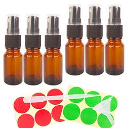 GreatforU 6pcs 10ml Amber Empty Glass Spray Bottles with Bla