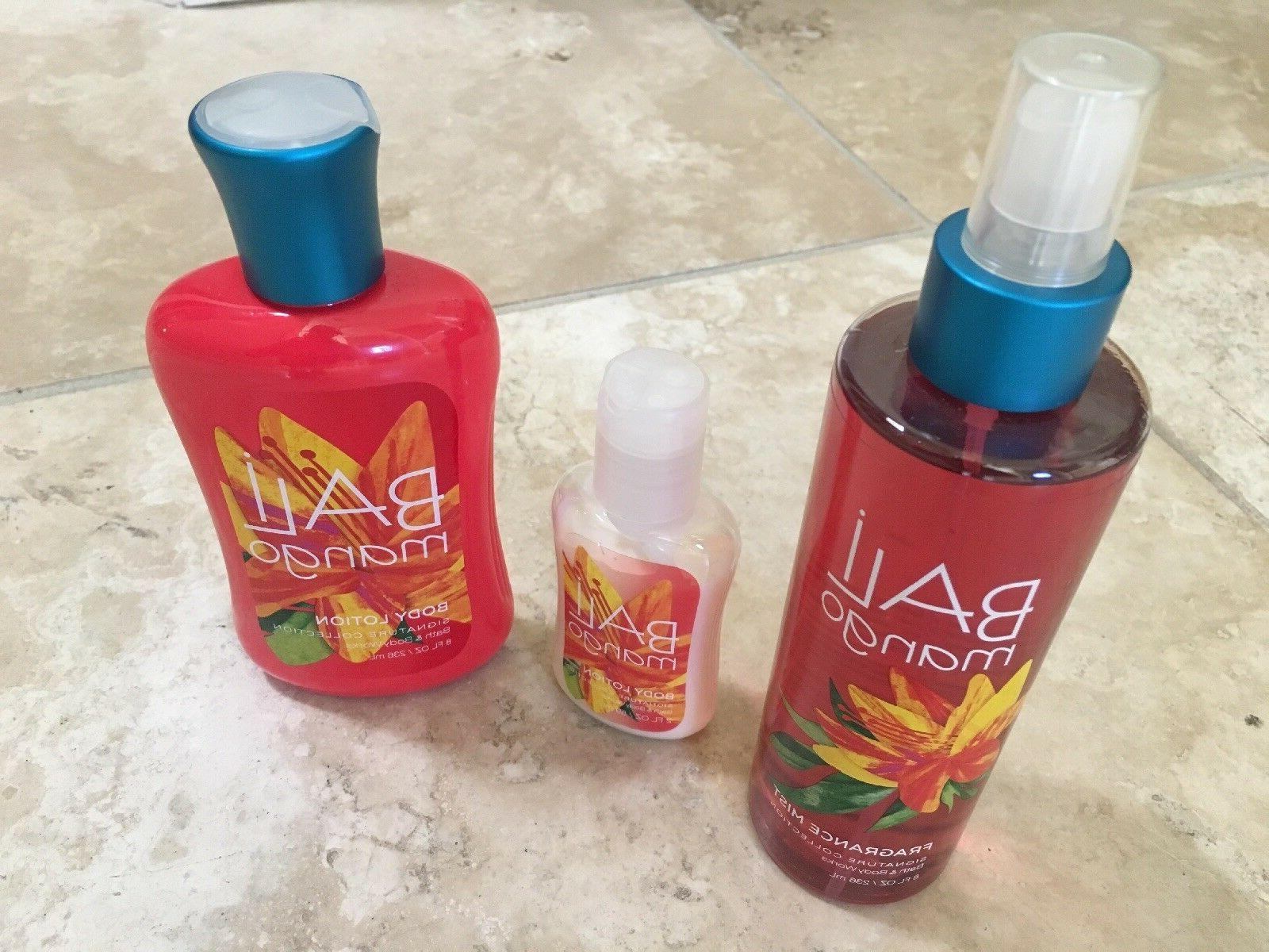 Bath and Body Works Bali Mango body fragrance spray, 2 lotio