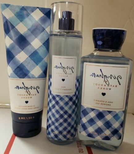bath and body works gingham set lot