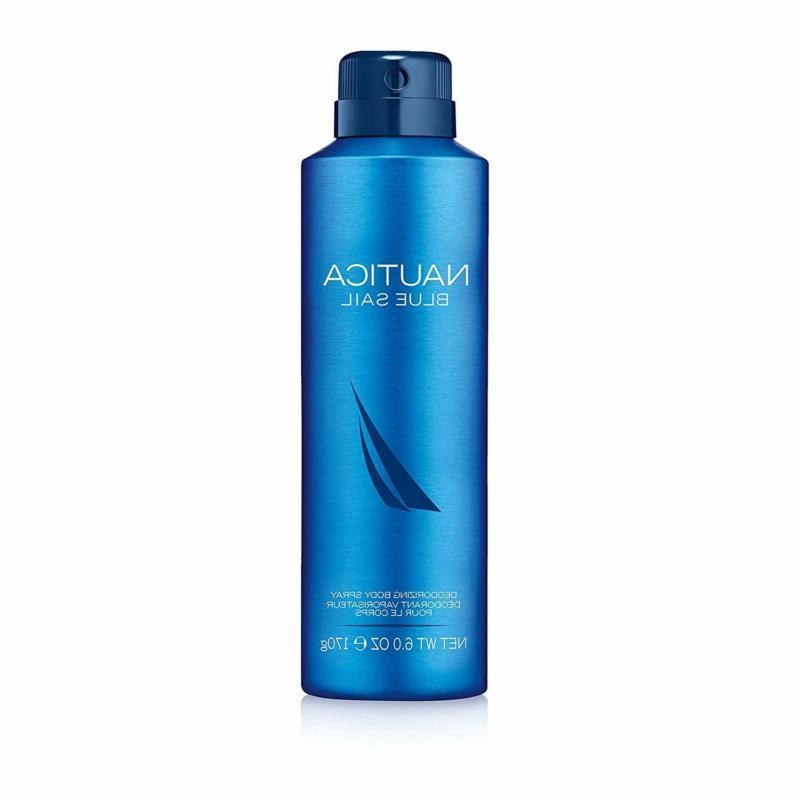 Nautica Blue Sail Deodorizing Body Spray For Men, 6 Fluid Ou