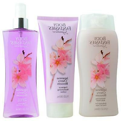 Body Fantasies Japanese Cherry Blossom Body Spray 8 oz & Bod