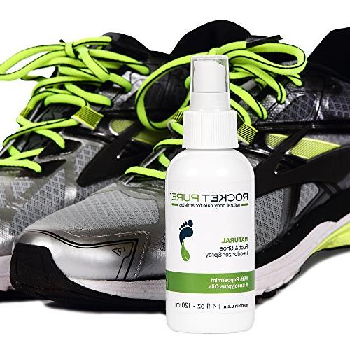 Natural Mint Shoe Deodorizer, Foot Spray. Odor, Caused by Bacteria. Spray Freshens Than Insoles, on