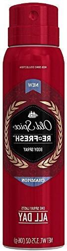 Old Spice Red Zone Re-Fresh Deodorant Body Spray, Champion,