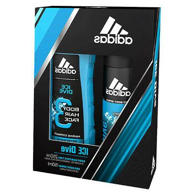 Adidas Ice Dive 2 Piece Gift Set, Men, Deo Body Spray, 150 M