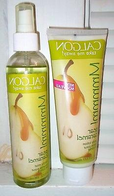 CALGON PEAR CARAMEL BODY LOTION & BODY MIST SPRAY SET   FREE