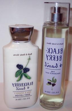 NEW! Bath & Body Works BLACKBERRY & BASIL Body Lotion & Mist