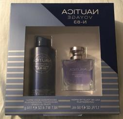 NEW NAUTICA Voyage N-83 Large Cologne Spray 1.7ozs & Body Sp